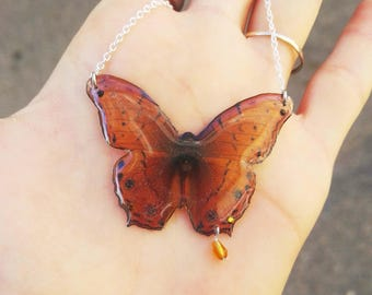 Iridescent Butterfly Necklace glass bead c. dorus t.