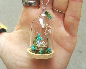 Globe necklace dried flower tree branch bird nest glass dome Moss miniature polymer