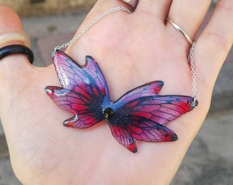 Red and black fairy wings necklace