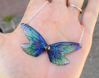 Four green and Purple Fairy wings necklace