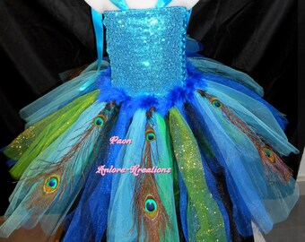 Tutu dress, costume Carnival Peacock, with crochet tutu top