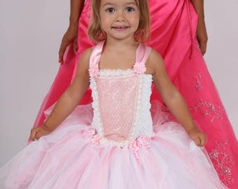 Tutu dress for a birthday, wedding, pink and white