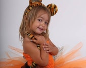 Disguise little tiger, baby and costume girl 1 to 10 years, 2 pieces, skirt with tulle and stretch bustier, Halloween, Carnival, birthday