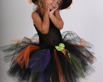Witch tutu, Carnival, little witch in tulle, Halloween costume dress