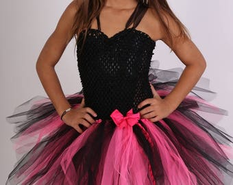 Girl pink and black Halloween costume dress tutu, Carnival
