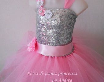 Tutu dress for a birthday, wedding, pink and silver