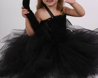 Kids costume, black panther costume, tulle and stretchy crochet bustier, Halloween girl costume, carnival, birthday, Christmas.