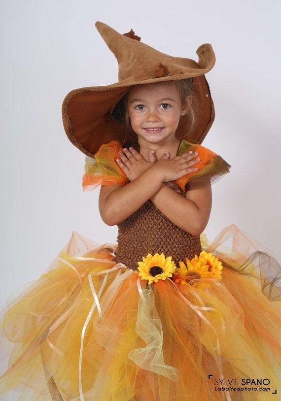 04b52a45c347e9 Déguisement enfant, robe tutu épouvantail , tulle souple et bustier au  crochet extensible. Halloween, carnaval, jour de fête, costume fille