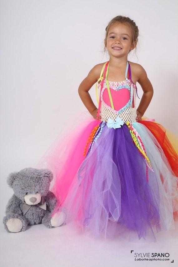 child costume lined dress tutu fairy tales Halloween Unicorn costume carnival Christmas. white and multicolored birthday