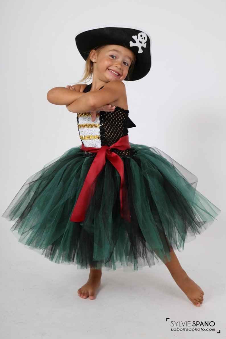 725d2baea781a1 Pirate costume, green, soft tulle and adaptable strapless tutu dress.  Costume, Halloween, Carnival, party, Kids 2-8 years