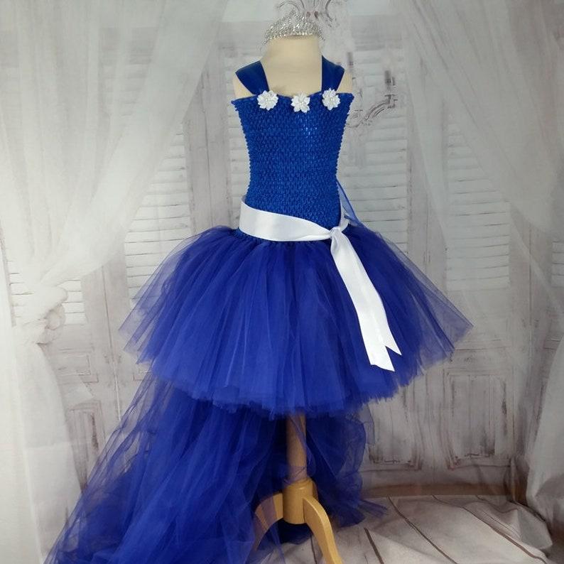 5ca65527051638 Robe de cérémonie enfant , robe tutu bleu roi, tulle souple,couleur au  choix, Mariage, anniversaire, jour de fête, Noël, robe de princesse