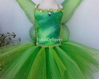 Bell fairy child dress, green tulle costume and fairy wings