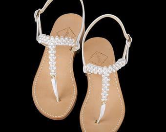 4ab79a12eb28c0 Ladies White Pearl Wedding Sandals