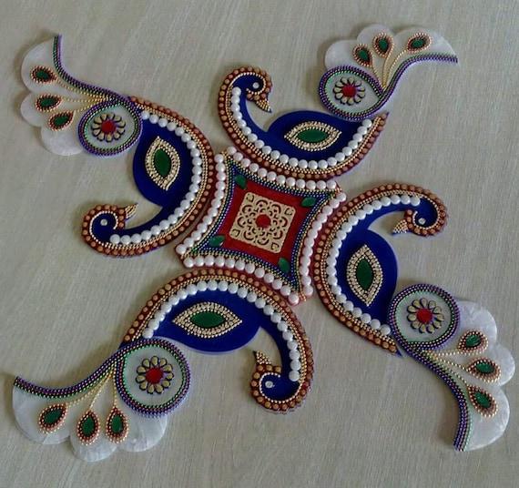 10 Inch Peacock Diwali Special Rangoli Floor Table Sticker Decor