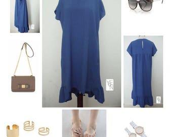 Linen ruffle back dress