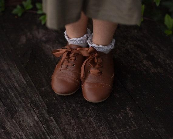 AUGGIE walnut unisex oxford ready to ship   ribbon lace option hard sole