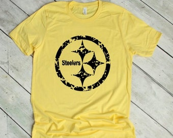 1905407a1 Steelers Logo Shirt - Pittsburgh Steelers - Gift for Him - Distressed  Steelers Logo - Steelers Unisex Tee