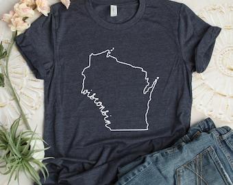 bdebc91a7 Wisconsin T-Shirt - T-Shirt -Game Day - Mens - Womens- Unisex Shirt - Wisconsin Pride - Wisconsin Tee - Birthday Gift- Christmas Gift -