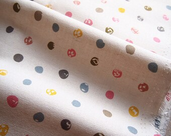 linen and cotton, polka dots, multicolor, child, thick fabric, bag