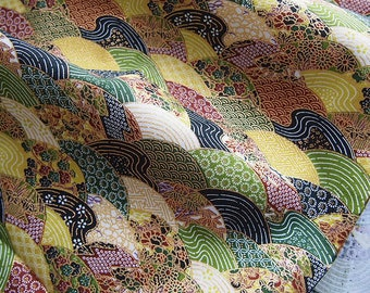 Japanese fabric, gold, green, wave, geometric pattern, patchwork,
