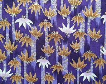 Japanese fabric, purple, gold, bamboo, zen, patchwork fabric, oriental