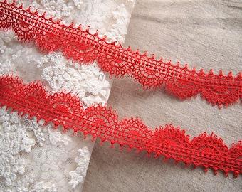 Red guipure lace trim