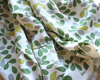 Silk fabric artificial, fabric, summer, viscose, green, nature leaf, dress, skirt