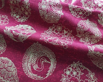 Japanese fabric, gold, red, burgundy, sakura, phoenix, birds, traditional pattern