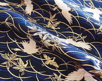 Japanese fabric, gold, indigo blue, patchwork, crane, traditional pattern,