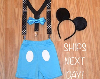 FREE SHIPPING********Mickey Mouse Inspired Baby Blue Birthday Smash Cake Outfit with Suspenders and Ears