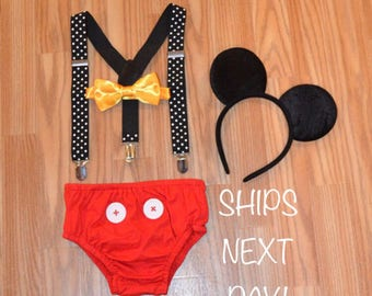 FREE SHIPPING********Mickey Mouse Inspired Birthday Smash Cake Outfit with Suspenders and Ears