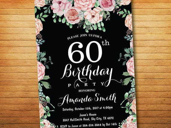 60th Birthday Invitation For Women Floral Birthday Party Invitation Chalkboard Bday Invite Boho Flower 30th 40th 50th 70th 80th 90th Any Age