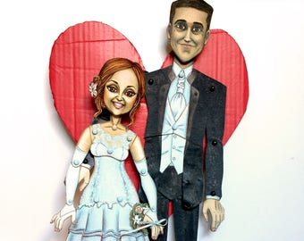 Bespoke paper doll. Newly wed romantic couple. Articulated paper marionette. Unique and handcrafted anniversary and wedding present. SOLD