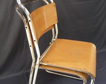 Vintage Retro Industrial Tubular Metal Wooden Adult Stacking Chairs