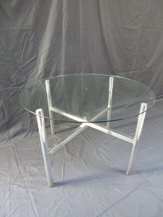 Glass Round Coffee Table Silver Plated Legs Stand Etsy
