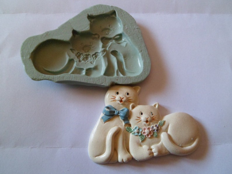 silicone mold fimo wepam plaster cats in love couple