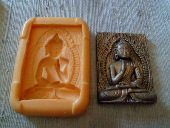 Soft silicone mold Buddha on frame for flat resin