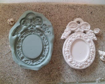oval frame silicone mold gate photo at the bow and leaves for fimo wepam cast resin