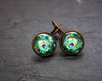 glass cabochon Stud Earrings peacock feathers