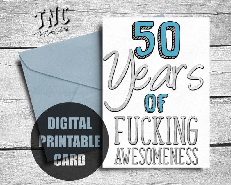 Funny 50th Birthday Card Printable Fiftieth