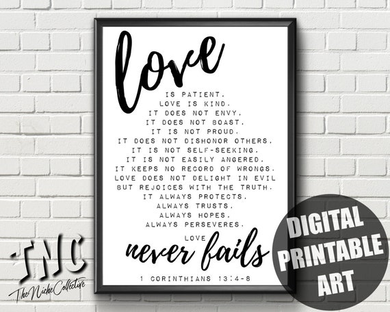 Love Quote Printable Wall Art 60 Corinthians 603 6060 Love Is Etsy Impressive Love Quote From The Bible