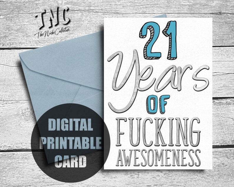 Funny 21st Birthday Card Printable Twenty First