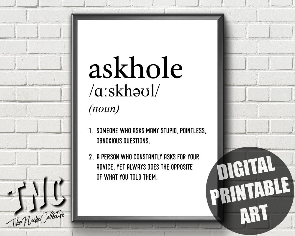 Definition Print Askhole Printable Word Definition Etsy