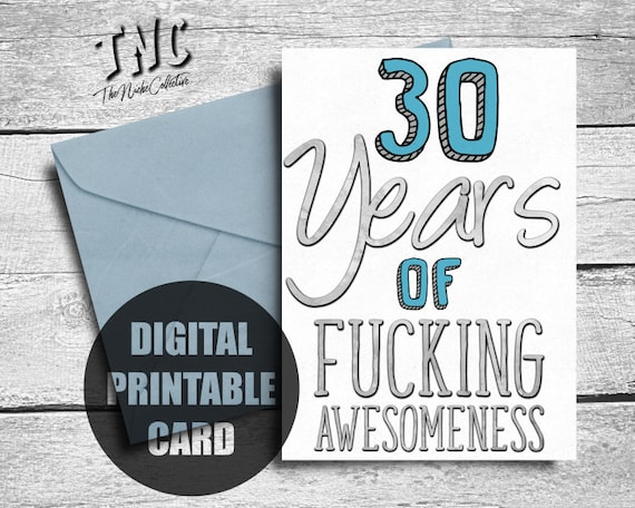 Funny 30th Birthday Card Printable Thirtieth
