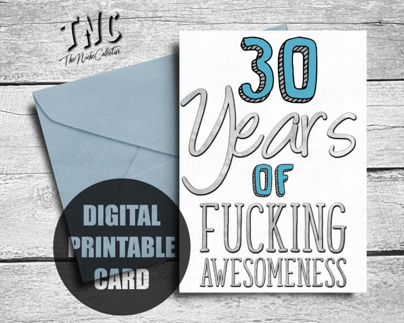 Funny 30th Birthday Card Printable Thirtieth