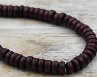 FREE SHIPPING, Dark Umber Brown Wood Rondelle 8x5mm Beads
