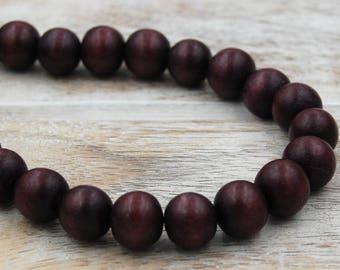 FREE SHIPPING, Dark Umber brown Wood Round 8mm Boho Beads