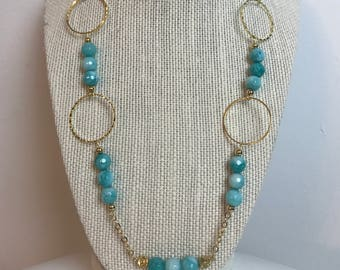 Handcrafted Necklace 14K Gold Filled Chain Malachite Beads