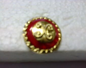 "Button edge and middle Golden, red line ""BOR18"" ø 2.50 cm"