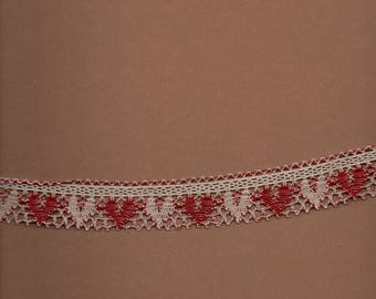 "Cotton lace with hearts""red 498 and unbleached 3782"" wide 2.5 cm"